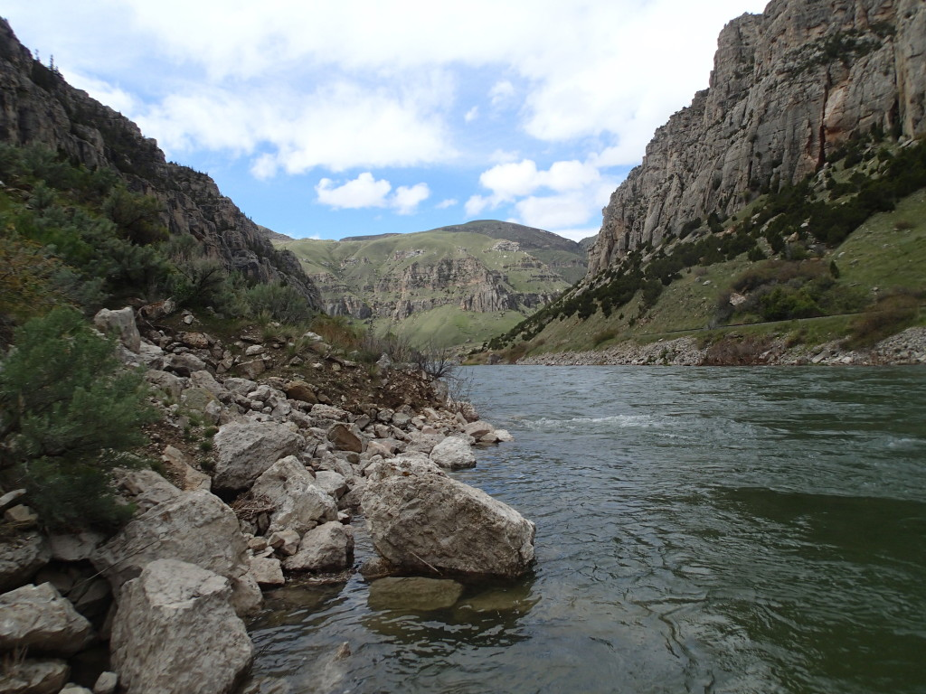 The Wind River on the Indian Reservation just up stream from Thermapolis, WY. It takes a special permit to fish here.