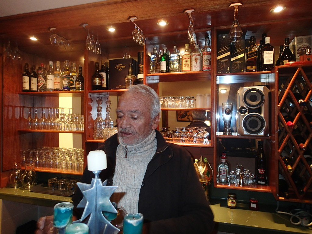 Eduardo Campuzano behind his bar at the Campuchoca Lodge