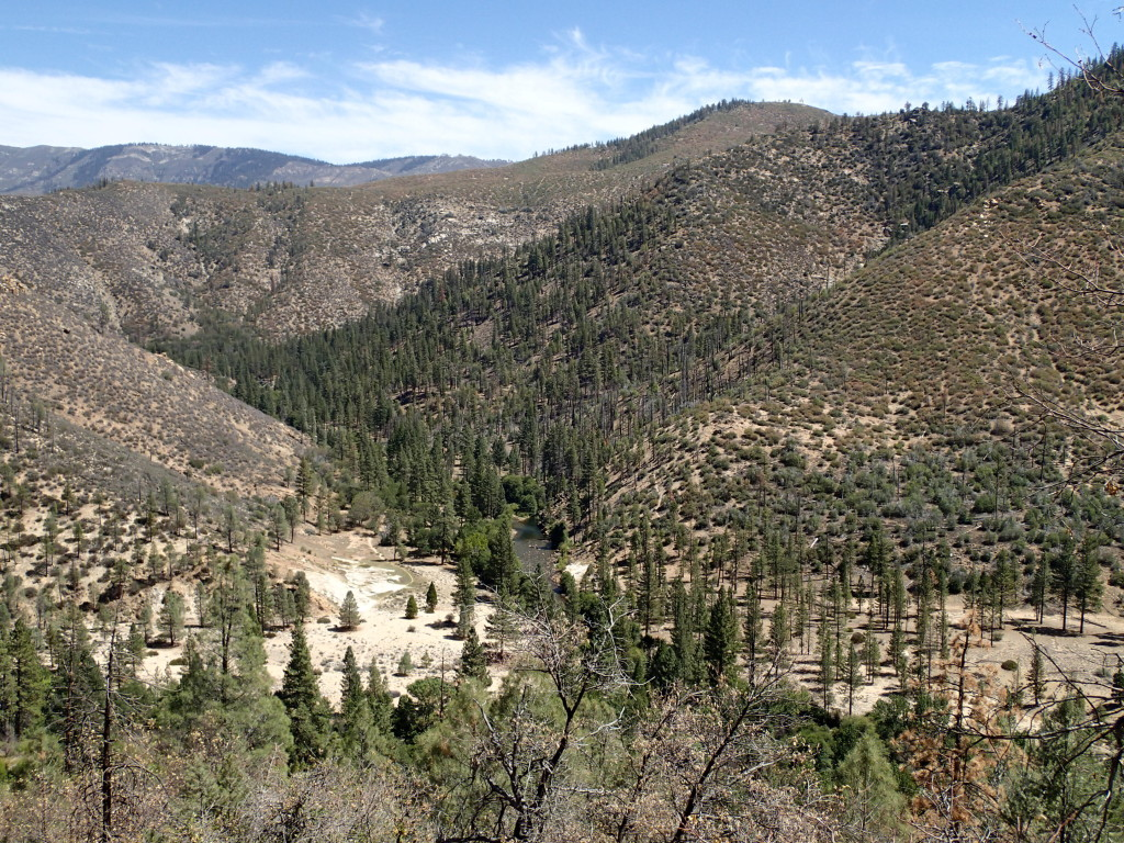 View down to the North Fork of Kern River at the confluence of the Little Kern from the Forks of the Kern Trail