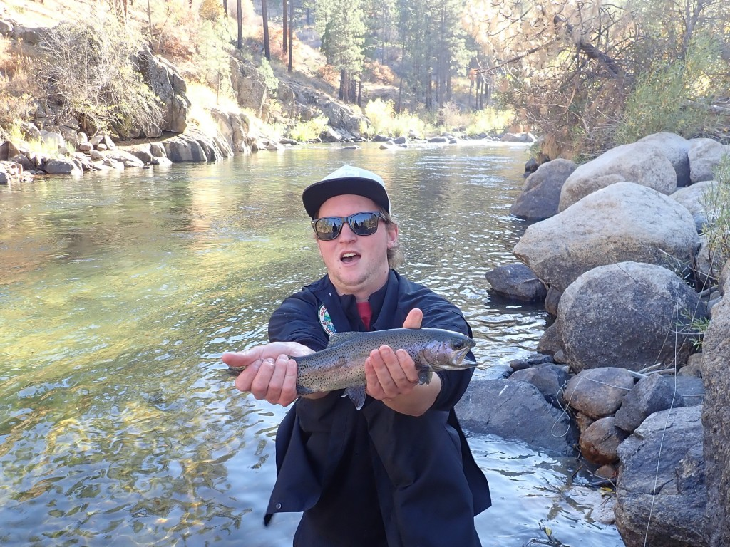 Mark Huckaby with one of his big Kern River Rainbows